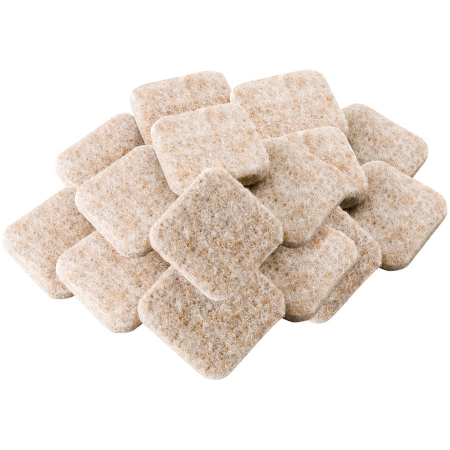"Waxman Consumer Group 4717495N 1"" Oatmeal Square Self-Stick Felt Pads, 16 Count"