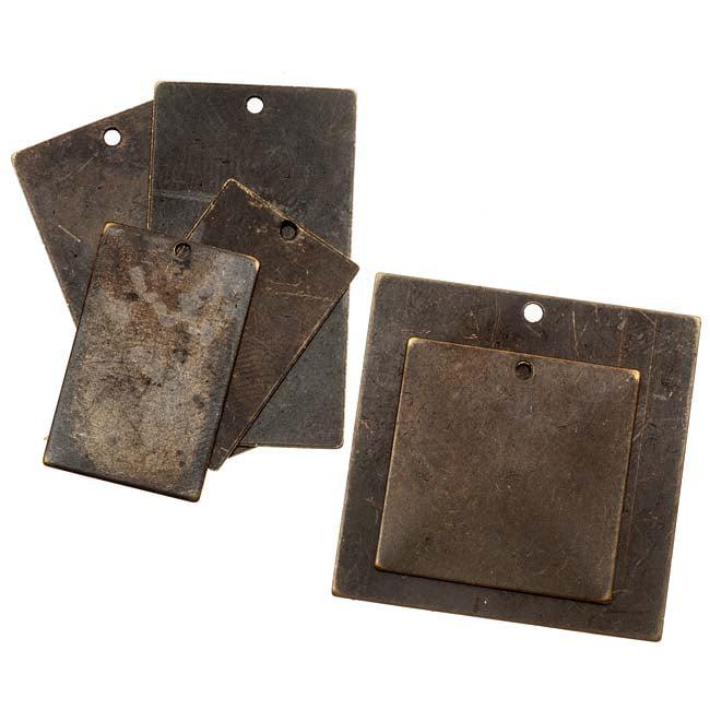 Vintaj Natural Brass Assorted Pendant Blanks - Squares & Rectangles (6 Pieces)