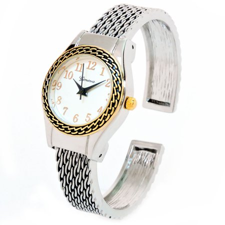 - 2Tone Western Style Round Face Easy to Read Women's Bangle Cuff Watch