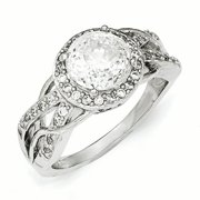 Sterling Silver CZ 100-Facet Fancy Ring