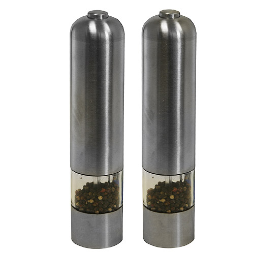 iTouchless Battery Powered Automatic Stainless Steel Pepper Mill and Salt Grinder