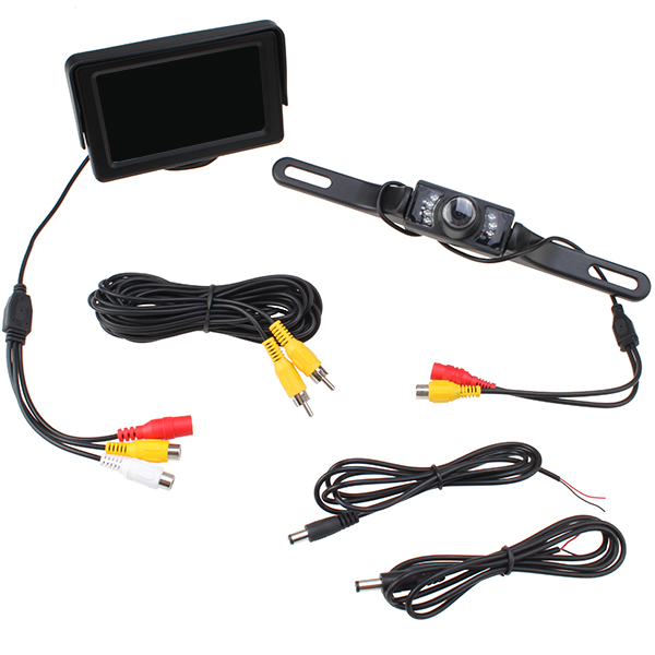 """AGPtek Backup Camera and Monitor Kit with 4.3"""" LCD Rear View Monitor LED License Plate Camera for Vehicle Cars"""