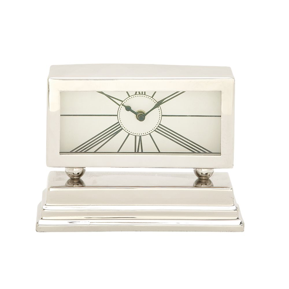 Click here to buy Alluring Aluminum Stainless Steel Table Clock by Benzara.