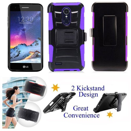 "for 5"" LG Rebel 3 ZONE 4 K8 2018 Case Belt Clip Holster Phone Case 2 Kick stand Hybrid Shockproof Armor Impact Bumper Cover Purple"