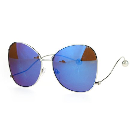 Womens Ball Tip Arm Drop Temple Butterfly Metal Rim Sunglasses Blue (Be The Ball Sunglasses)