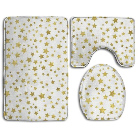 XDDJA Gold Stars 3 Piece Bathroom Rugs Set Bath Rug Contour Mat and Toilet Lid Cover - image 1 of 2