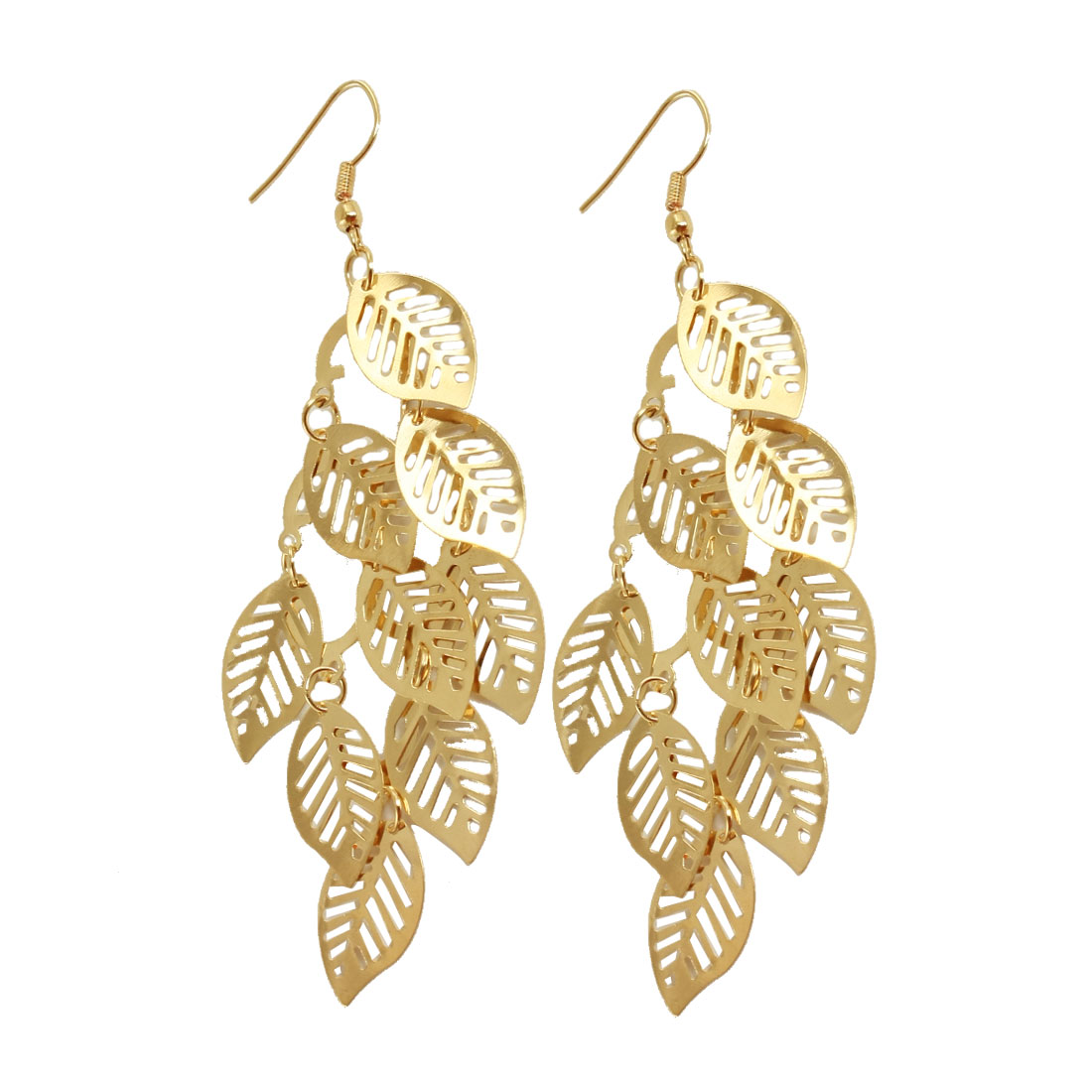 Women Gold Tone Leaf Accent Dangling Hook Earrings Eardrop Pair