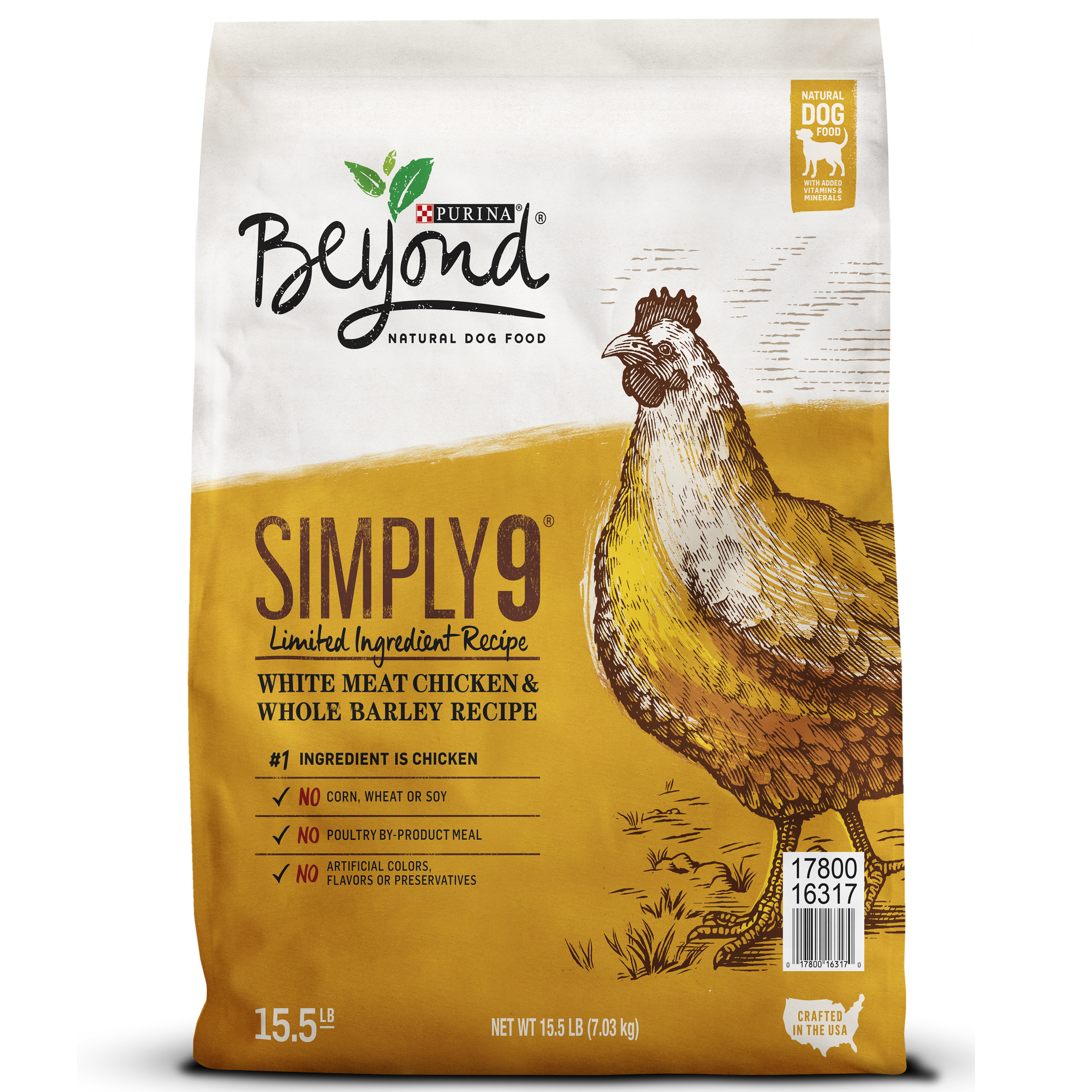 Purina Beyond Simply 9 White Meat Chicken & Whole Barley Recipe Adult Dry Dog Food - 15.5 lb. Bag