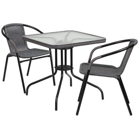 Lancaster Home 28-inch Square Glass Metal Table with Rattan Edging and 2 Rattan Stack Chairs Black, Grey ()