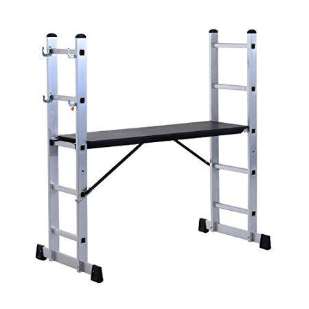 Homcom 4 5 Heavy Duty Aluminum Folding Scaffold Ladder