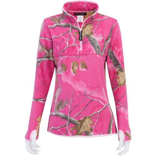 Mossy Oak Women's Half Zip Fleece Jacket, Mossy Oak Patterns
