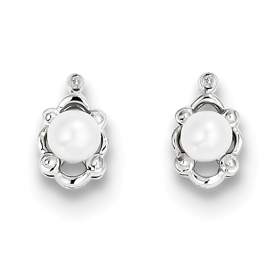Roy Rose Jewelry Sterling Silver Freshwater Cultured Pearl and Diamond Earrings