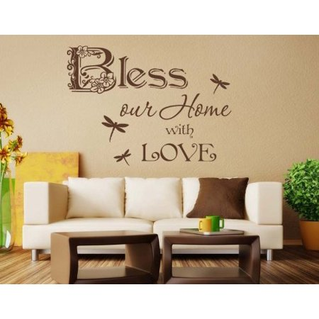 Bless our Home with Love Wall Decal - wall decal, sticker, mural vinyl art home decor, Christian quotes and sayings - 4033 - White, 20in x 15in