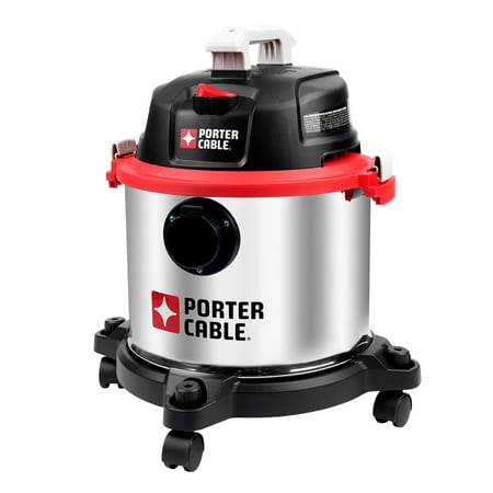 Porter-Cable 5 Gallon Wet Dry Vacuum, 4 Peak HP Stainless Steel 3 in 1 Shop Vac Blower with Powerful Suction, Multifunctional Shop Vacuum W/ 4 HP Motor for Job Site,Garage,Basement,Workshop