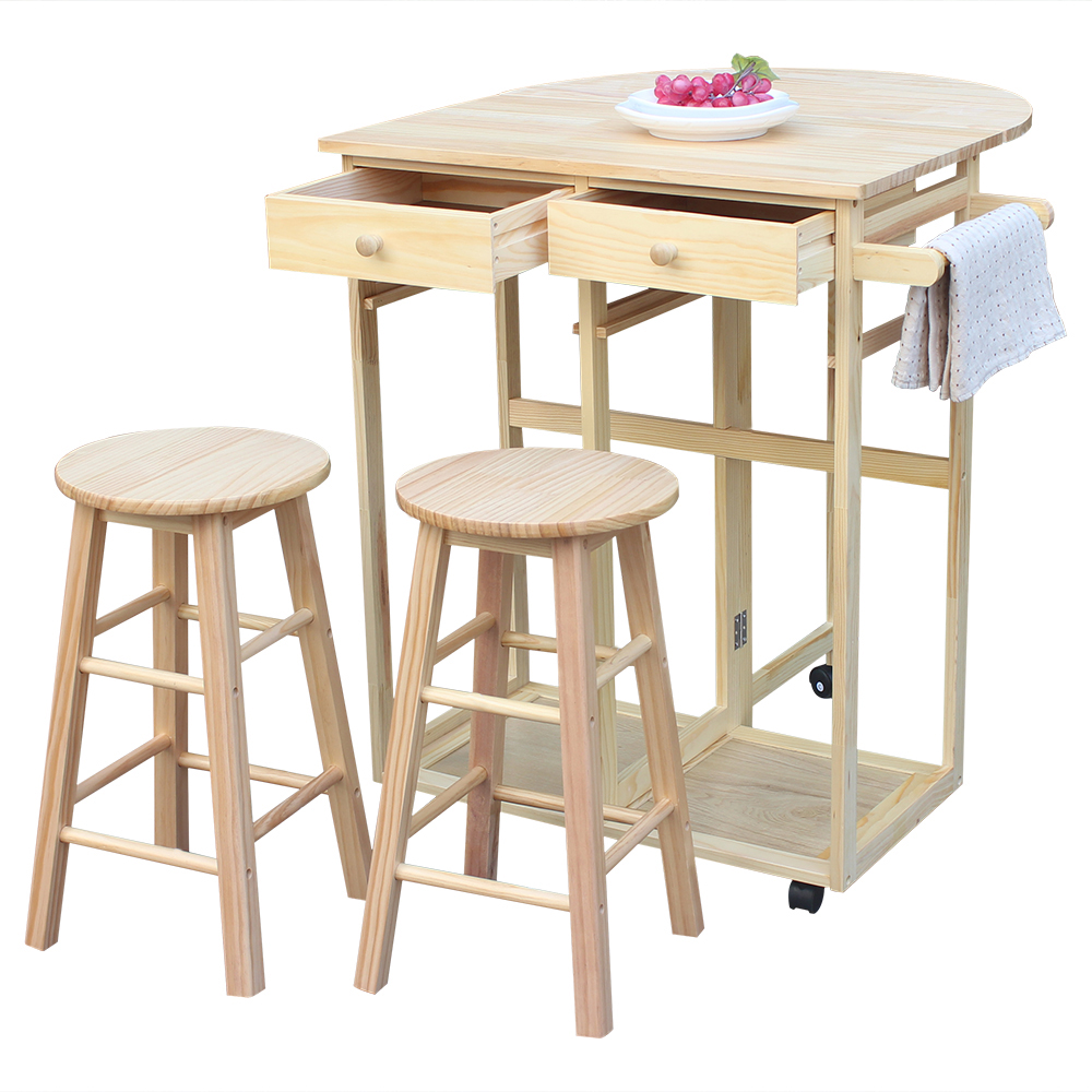 Top Knobs Drop Leaf Breakfast Cart Folding Dining Set Home Kitchen Furniture Wooden Rolling Kitchen Trolley Cart Island, Breakfast Bar, Dining Table Set w/2 Stools
