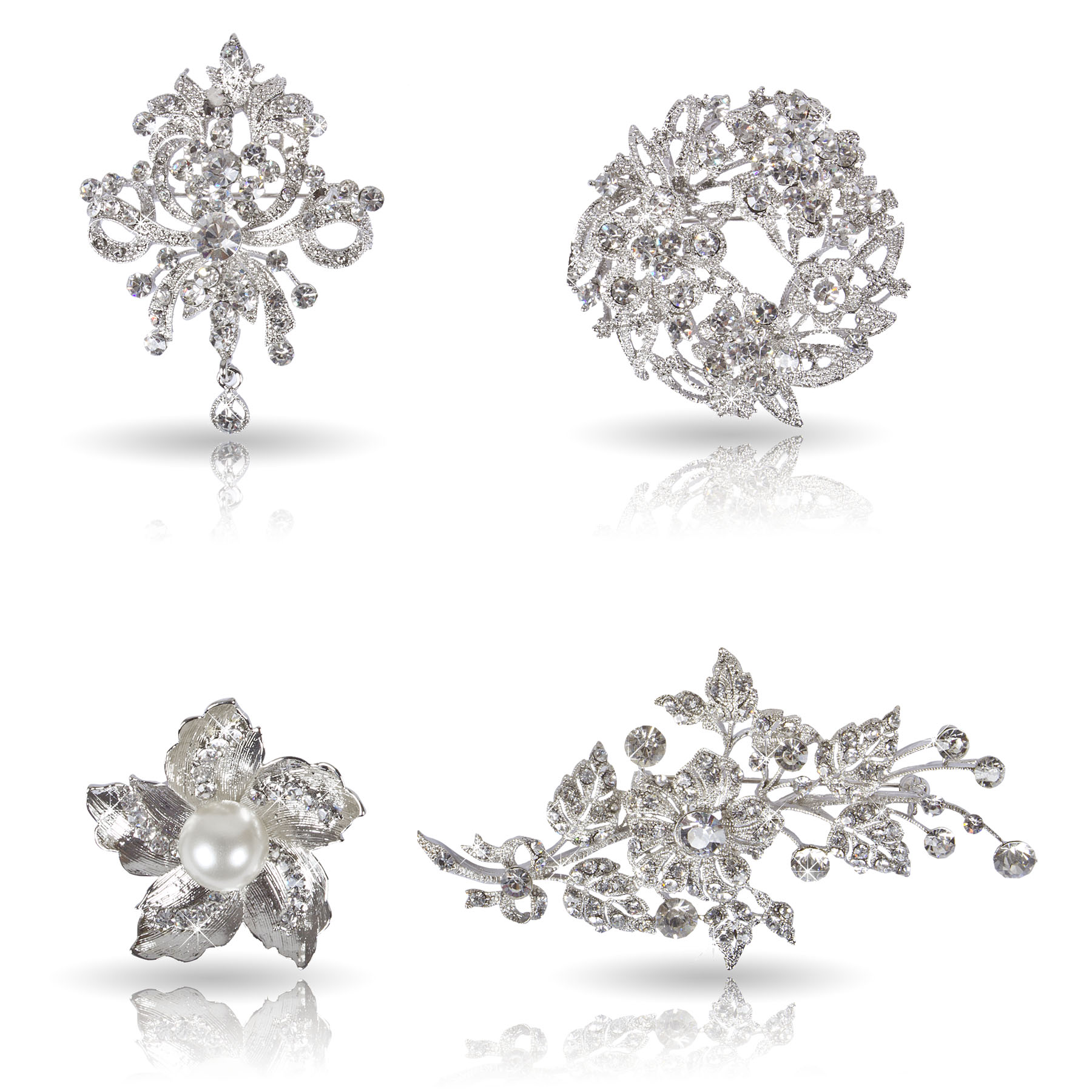 Womens Fancy Clear Crystal Bezel Flower Fashion Brooch Mixed Lot