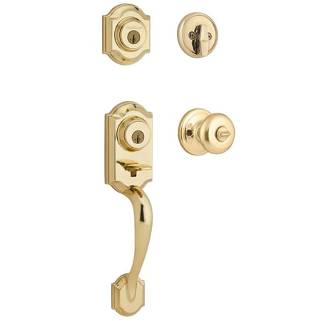 Handleset Brass Knob - Kwikset 95530-017 Polished Brass Montara Two-Point Locking Single Cylinder Handleset With Juno Knob