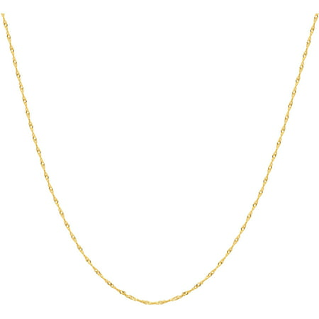 """Brilliance Fine Jewelry 10K Yellow Gold Polished Singapore Chain Necklace, 22"""""""