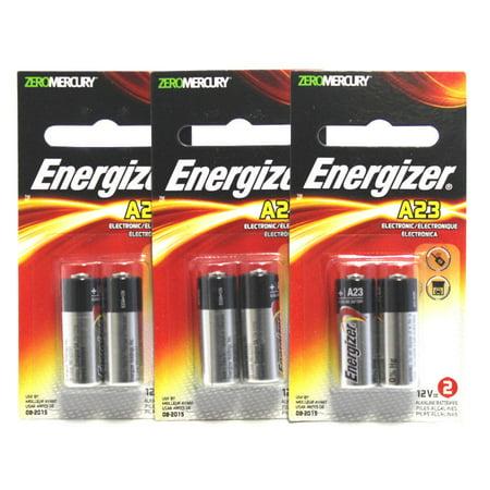 Energizer A23 12V Batteries 3 Packs of 2 = 6 batteries (A23BPZ-2)