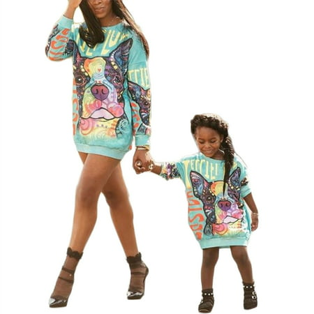 Mommy and Me Matching Cartoon Printed Loose Pullover Shirt Dress Parent-Child Family Long Sleeve Sweatshirt Outfits - Family Dress