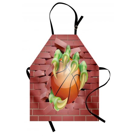 Brick Wall Apron Claw Beast Monster Hand Holds Basketball through Brick Wall Paint, Unisex Kitchen Bib Apron with Adjustable Neck for Cooking Baking Gardening, Coral Orange Lime Green, by Ambesonne Basket Hand Painted Signed