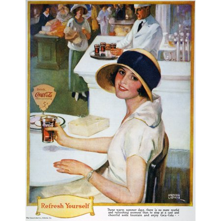 Coca-Cola Ad 1924 NRefresh Yourself Advertisement For Coca-Cola From An American Magazine Of 1924 Rolled Canvas Art -  (24 x 36)