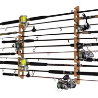 Rush Creek Creations 2 in 1, 11 Fishing Rod/Pole Storage Wall/Ceiling Rack American Cherry Finish - Convenient Easy Assembly