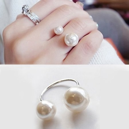 Fashion Women Girls Two Imitation Pearl Opening Ring Wedding Adjustable Finger Ring Jewelry Gifts