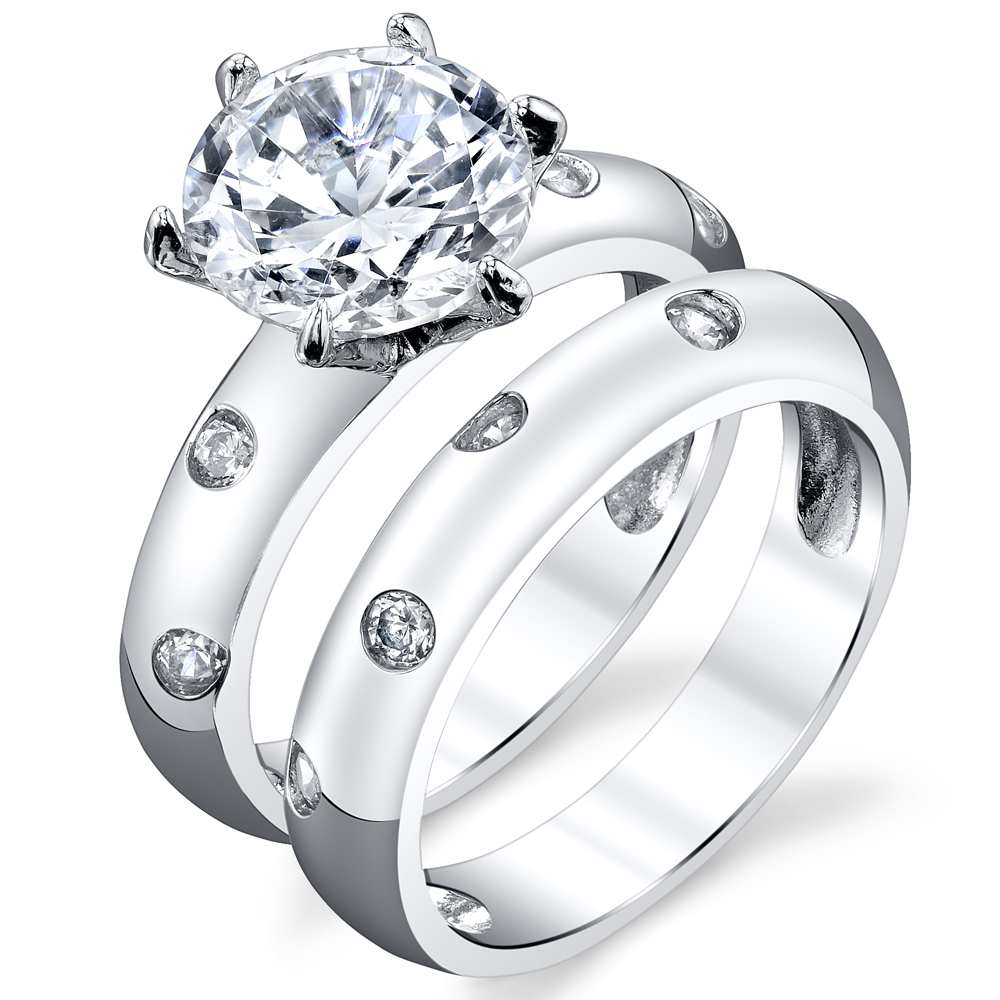 2.50 Carat Round 2 Piece Sterling Silver 925 Engagment Ring Wedding Bridal Set Bands W  Cubic Zirconia by
