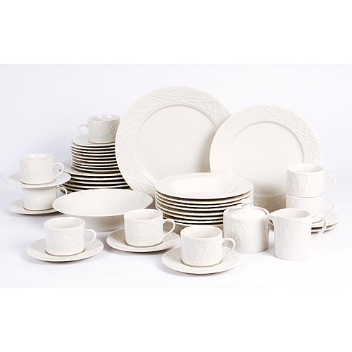 Retroneu White Etched 45-Piece Dinnerware Set  sc 1 st  Walmart & Retroneu White Etched 45-Piece Dinnerware Set - Walmart.com