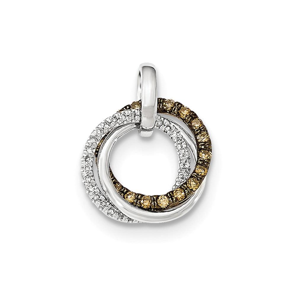 14K White Gold & Black Rhodium-plated Champagne & White Diamond Circles Pendant