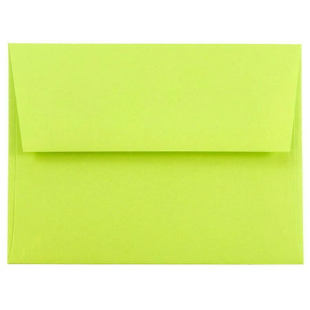 Ultra Thin Envelope - JAM Paper A2 Invitation Envelopes, 4 3/8 x 5 3/4, Brite Hue Ultra Lime Green, 50/pack