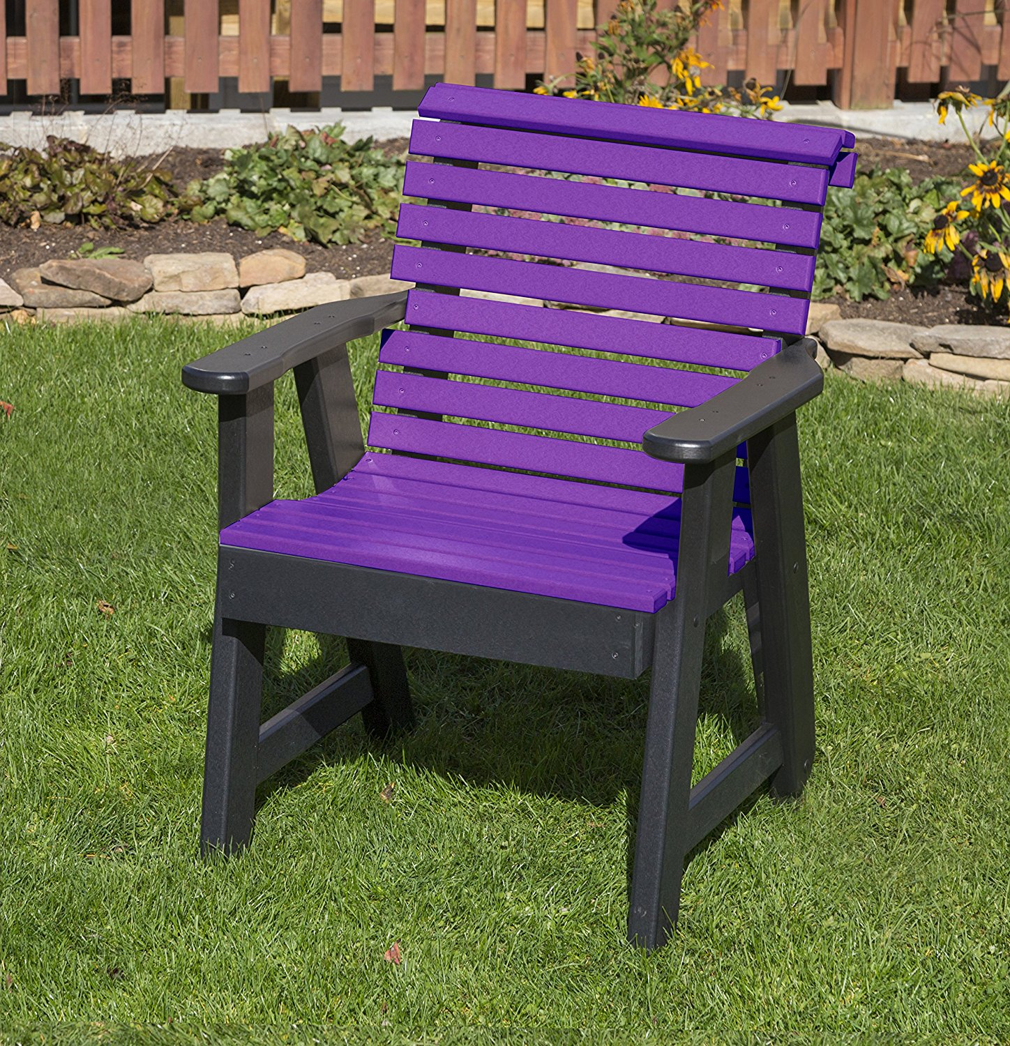 Outdoor Patio Garden Lawn Exterior Bright Purple Finish Poly Lumber Roll Back 2 Ft Chair Heavy Duty Everlasting -Amish Crafted