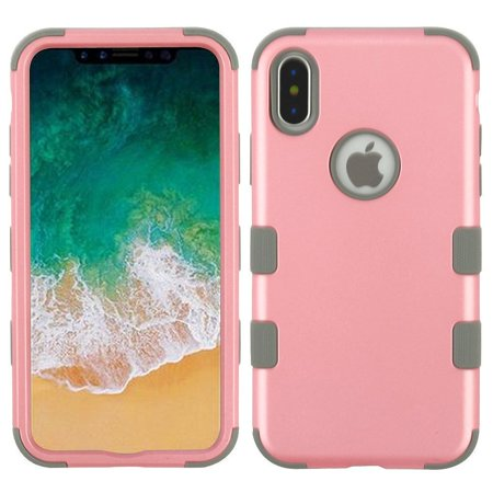 Insten Tuff Hard Hybrid TPU Cover Case For Apple iPhone 10 iPhone X 2017 - Pink/Gray (Bundle with MIRROR Tempered Glass Screen Protector)
