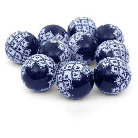 Oriental Furniture 10 Piece Medallions Porcelain Ball Set - Blue / White (Oriental Decorations)