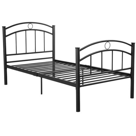Costway 83''x42''x35'' Black Metal Bed Frame Platform Twin Size  Home Furniture