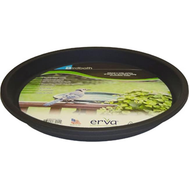 Erva 14 inch Birdbath Plastic Dish44; Black Garden Yard Lawn Patio Decoration by Erva
