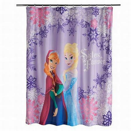 Disney Frozen Microfiber Shower Curtain Sisters Forever Elsa Anna Kids Bath