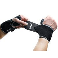 """IPOW 2pcs 18.5"""" Wrist Straps and Lifting Straps Gym Workout Wrist Brace Powerlifting Wrist Support Bodybuilding Wrap for Women Men Pain Relief, Cross Training, Tennis, Volleyball, Black"""