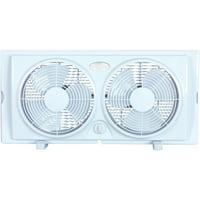 """Optimus 7"""" Twin Window 2-Speed Fan, Model #F-5280, White"""