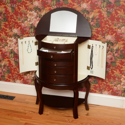 Wildon Home  Bay Shore Oyster Bay Jewelry Armoire with Mirror