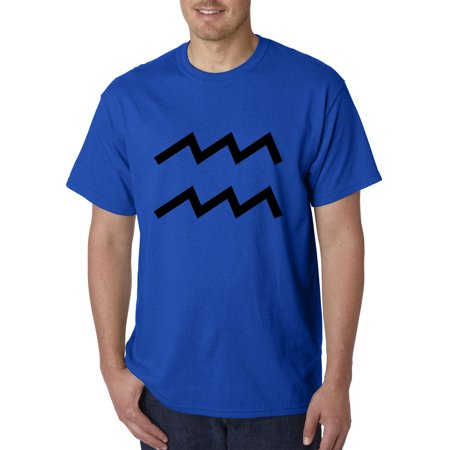 Trendy USA 958 - Unisex T-Shirt Aquarius Symbol Zodiac Sign The Water Bearer Small Royal Blue