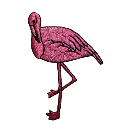ID 3632 Pink Flamingo Patch Bending Knee Bird Embroidered Iron On Applique