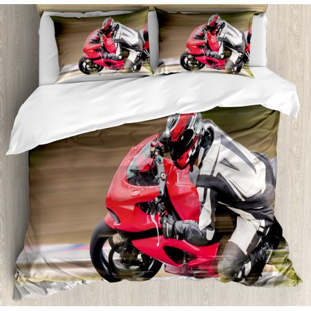 Teen Room Duvet Cover Set, Racing Motorcycle Athlete in Speed Turning on the Road Activity Colorful Picture, Decorative Bedding Set with Pillow Shams, Multicolor, by Ambesonne