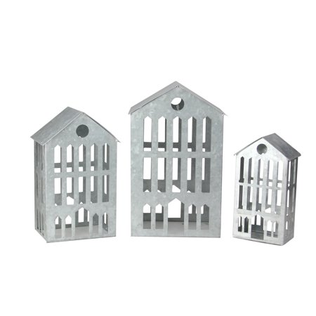 Set of 3 Galvanized Metal Nesting Christmas Houses 12""