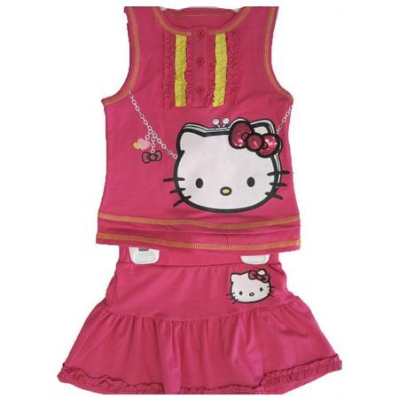 Hello Kitty Little Girls Fuchsia Ruffled Sequined Bow 2 Pc Skirt Set 4-6X