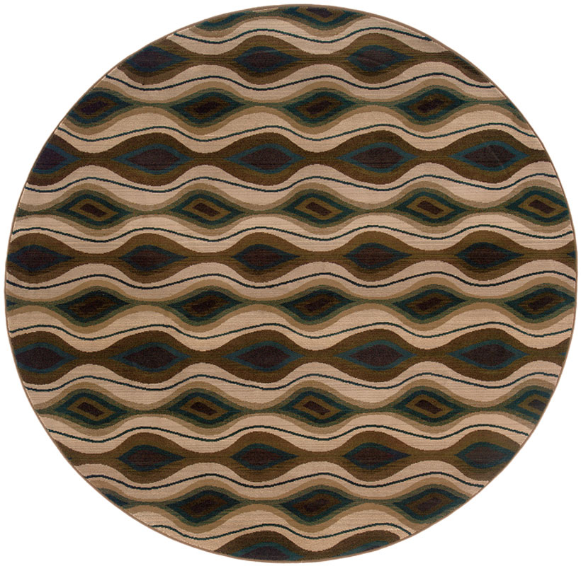 Sphinx Odyssey Area Rugs - 4443D Contemporary Brown Stripes Waves Marquis Rug 8' x 8' Round