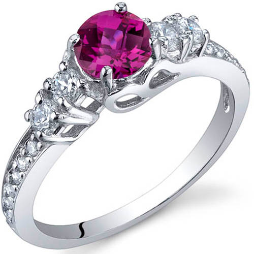 Oravo 0.75 Carat T.G.W. Created Ruby Rhodium-Plated Sterling Silver Engagement Ring