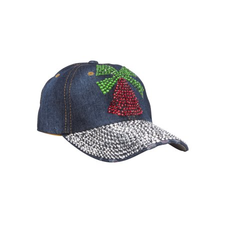 Top Headwear Studded Christmas Bell Denim Baseball Cap - Christmas Head Wear