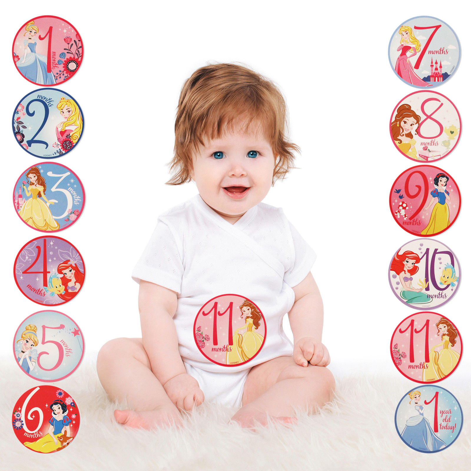 1 12 Months Pink Tiny Ideas First Year Monthly Milestone Necklace Photo Sharing Baby Belly Stickers